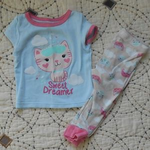 5/$10 Carter's 2 Piece Kitty Pajama Set 12mo